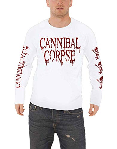 Cannibal Corpse T Shirt Butchered at Birth Nue offiziell Herren Weiß Long Sleeve (Cannibal Corpse-t-shirt)