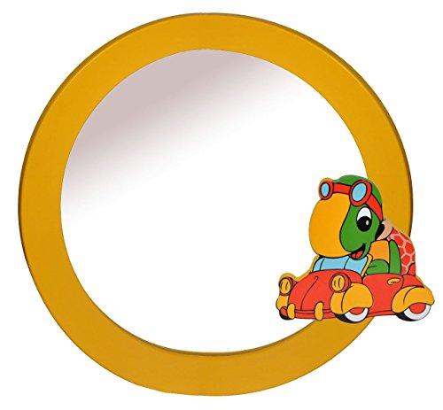 Spiegel / Wandspiegel aus massiven Holz - Schildkröte mit Auto in gelb - Kinderzimmer - Tiere - für Kinder die Wand - Tier - Mädchen Jungen Schildkröten Autos