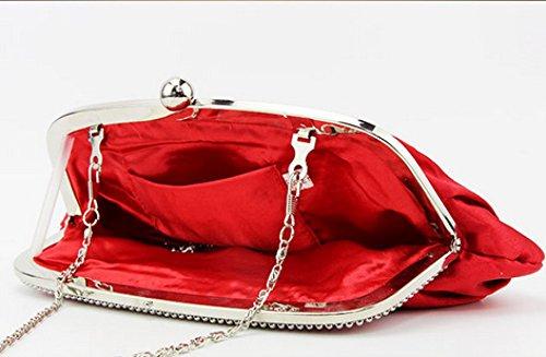 Signore Di Seta Piegato Borsa Beads Banchetto Del Partito Di Sera Del Partito Cosmetics Red