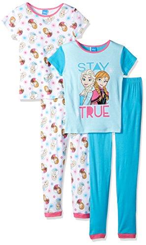 Disney Girls' Big Girls' Frozen 4-Piece Cotton Pajama Set, Blue, 8