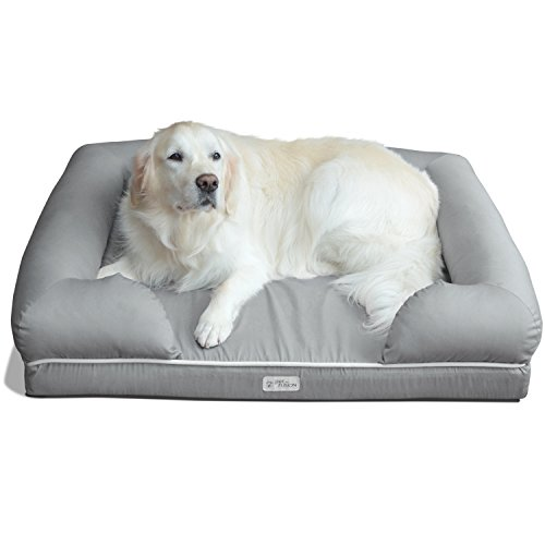 PetFusion Ultimate Dog Bed & Lounge. (X-Large Slate Gray, 112 x 87 x 26 CM). Premium Edt Solid 10.5CM Memory Foam