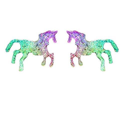 Qinlee Kinder Ohrring Pferd Silber Ohrhänger Kinderschmuck Kinder-Ohrstecker Pferde Silber für Mädchen Ohrstecker Pferd Pony Glanz Bunt