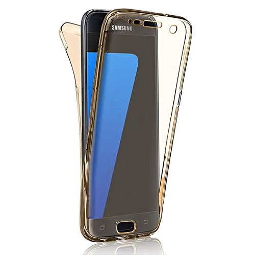 Samsung Galaxy J7 (2016 Version) Coque Gel TPU Silicone Etui Intégrale Transparent Case pour Samsung Galaxy J7 (2016 Version) Housse Protection Full Silicone Souple Case, Vandot Samsung Galaxy J7 (201 Transparent-Or
