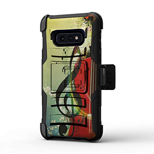 TurtleArmor Schutzhülle für Samsung Galaxy S10e / S10e / S10 Lite Hülle / G970 [Hyperschock] / Heavy Impact Shock Silikon Robuste Schutzhülle mit Gürtelclip, Music Symbol Note (Phones Cricket Samsung Note Cell)