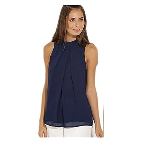 Kolylong Women Casual Chiffon Blouse Sleeveless Shirt T-shirt Summer Blouse Tops (UK:12=L)