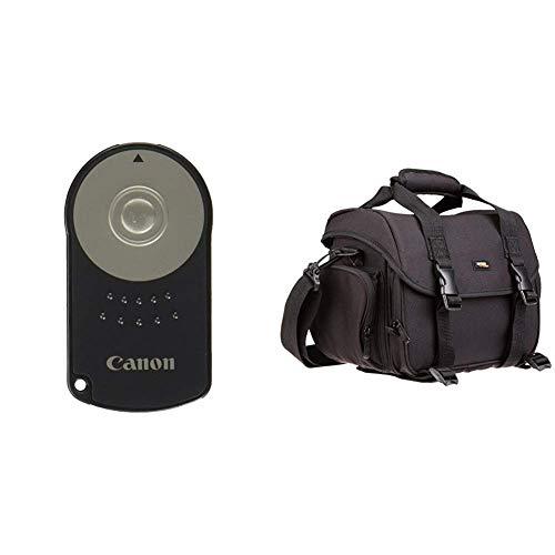 Canon RC-6 Infrarot-Fernauslöser & AmazonBasics - Große L Umhängetasche für SLR-Kamera und Zubehör, schwarz mit orange Innenausstattung (Canon Kamera-auslöser Fernbedienung)