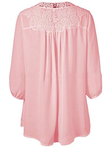 Luojida Donna Maglietta Manica Lunga Oversize T Shirt Pizzo Scollo A V Chiffon Casuale Primavera Autunno Vacanze Casa Usura Camicie Rosa