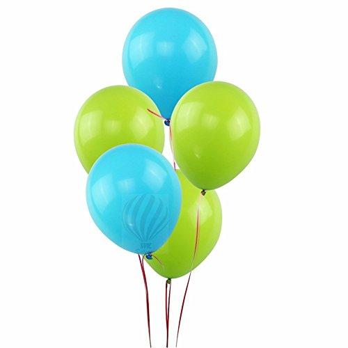 HKBalloons Light Green & Light Blue ( Pack of 50) Birthday Balloons for Decoration (Green & Blue)