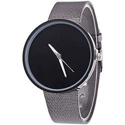 KEERADS Mens Womens Quartz Metal Mesh Quartz Wrist Watch Black