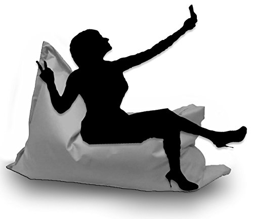 Sitzsack XL 145 x 100 cm mit Füllung - Farbe & Größe Wählbar- In & Outdoor Sitzsäcke Sessel Kissen Sofa Hocker Sitzkissen Bodenkissen (ca.145x100cm, Grau)