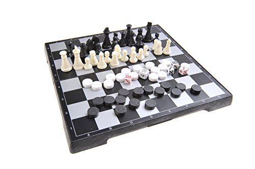 Quantum Abacus Magnetisches Brettspiel 3-in-1 (Reise-Größe): Schach, Dame, Backgammon - magnetische Spielsteine, Spielbrett zusammenklappbar, 20cm x 20cm x 2cm, Mod. SC24810 (DE)