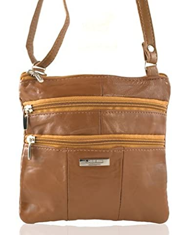 Lorenz Ladies Small Genuine Soft Leather Cross Body / Shoulder Bag (1) # 1941 - Tan
