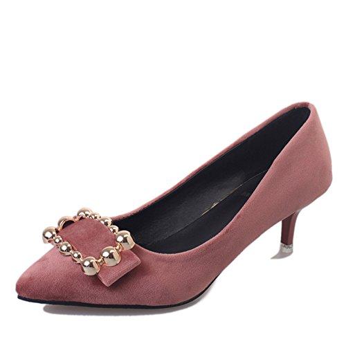 Ladies fashion chaussures occasionnelles au printemps/shallow pointes côté boucle high heels/Chaussures à talon C