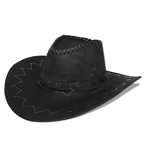 HC-Handel 910508 Cowboyhut Westernhut Western Wildlederoptik schwarz, braun oder hellbraun (Western Film Kostüme)