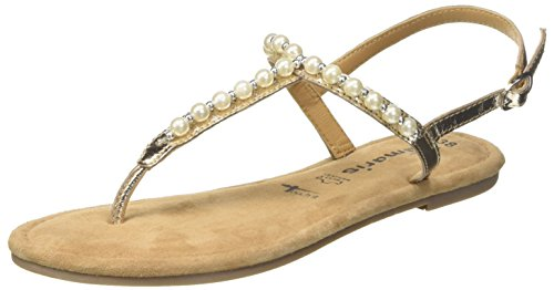Tamaris Damen 28158 Slingback Sandalen, Gold (Light Gold), 39 EU