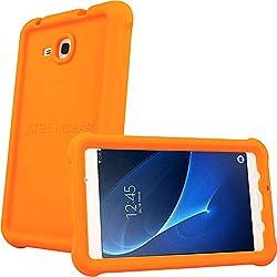 TECHGEAR Coque Bumper pour Samsung Galaxy Tab A 7.0 Pouces 2016 (Séries SM-T280) Coque de Protection Caoutchouc Résistante aux Chocs avec Bords et Coins Renforcés + Film de Protection [Orange]