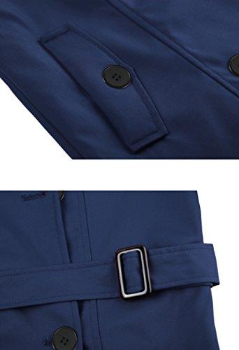 Wantdo Damen Mantel Zweireiher Lange Trenchcoat mit Gürtel Navy Small - 5