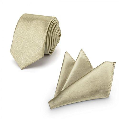 Rusty Bob - Herren-Krawatte mit Einstecktuch + Fliege - erhältlich in verschiedenen Farben - zum Anzug, zur Taufe, Hochzeits-Set - 3-teilig - Champagner