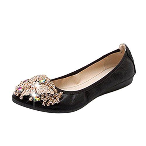 (Jitong Damen Rhinestone Loafers Slip-on Spitze Zehenkappe Flache Schuhe Elegant Glitter Mokassins (Schwarz, Asien 44))