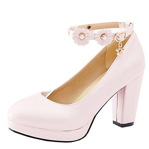 Agodor Damen Plateau Ankle Strap Pumps mit Blumen und Blockabsatz High Heels Modern Knöchelriemen Schuhe