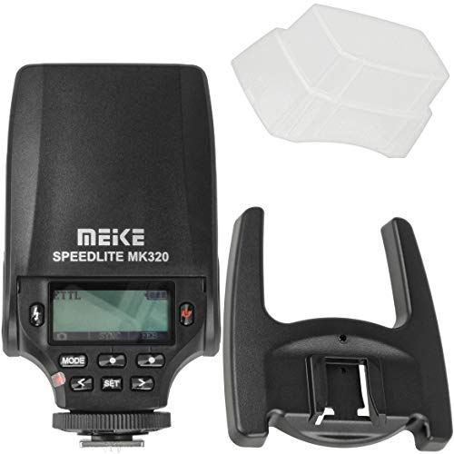 Meike Speedlite MK-320C TTL-Blitzgerät, Aufsteckblitz kompatibel mit Canon EOS DSLR Kameras inkl. Aufsteckdiffusor