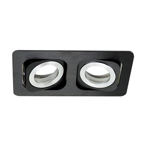 Spot Einbaurahmen Luxus 12-MD Zweiflammig Alu schwarz gebürstet Einbaufassung Einbauleuchte Bajonett-Verschluss 2er Einbau Leuchte Fassung Rahmen
