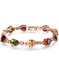 Jewels Galaxy Luxuria Sparkling AAA AD Swiss Cubic Zirconia Designer Rose Gold Splendid Bracelet For Women/Girls