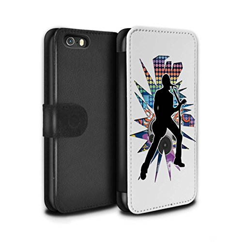 Stuff4 Coque/Etui/Housse Cuir PU Case/Cover pour Apple iPhone SE / Hendrix Noir Design / Rock Star Pose Collection Chanteur Blanc