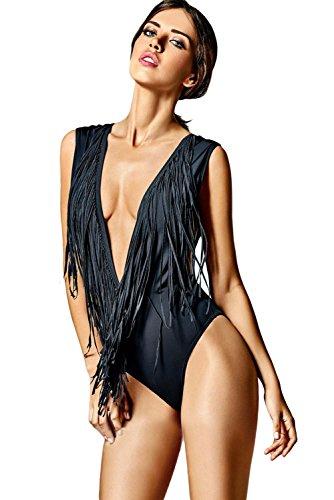 Nuovo Ladies, colore: Nero profondo scollo a V con frange costume da bagno One piece-costume monokini Beachwear taglia XL UK 14EU 42