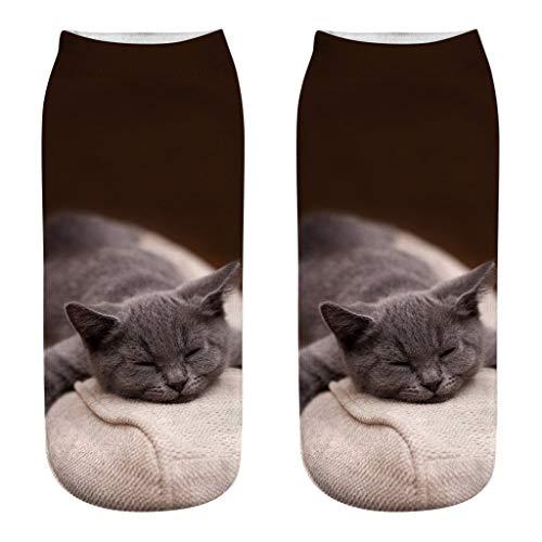 QUINTRA Socken 3D nette bunte Karikatur-rutschfeste Socken-Neuheit-verrückte lustige Katzen-Knöchel-kurze Socken -