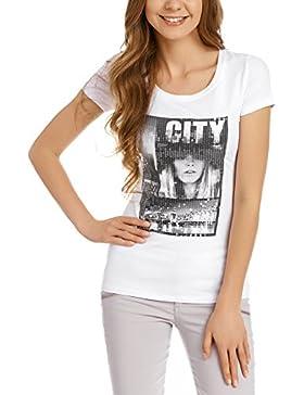 oodji Collection Mujer Camiseta con Estampado Urbano