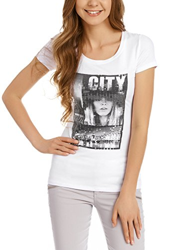 oodji Collection Damen T-Shirt Slim Fit mit Urban-Druck und Pailletten, Weiß, DE 36/EU 38/S (Verziert Tee Print)