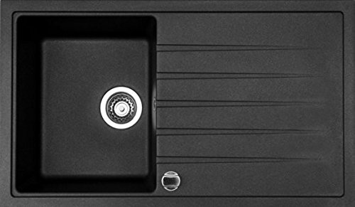 Victory Granitspüle, 1 Becken + Ablage, reversibel, schwarz
