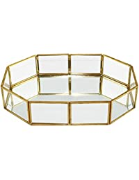 Yardwe Vintage Glass Tray Bathroom Dish Display for Decoraive Vanity Perfume Jewelry Trinket Countertop Holder Dresser Cosmetic Organizer (Octagonal)