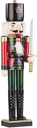 infactory Nussknacker Figur: Handbemalter Deko-Nussknacker Soldat im Erzgebirge-Stil, 48,5 cm (Deko-Figuren im Nussknacker-Design)