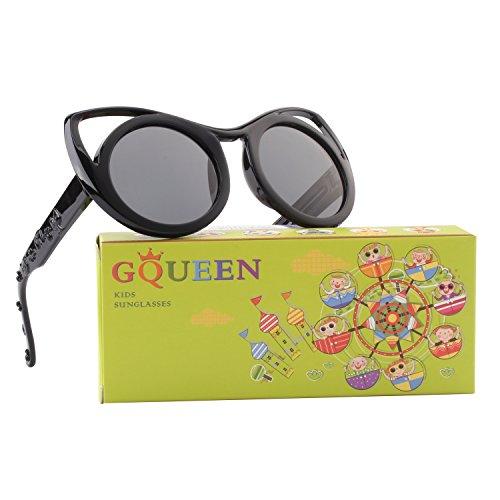 GQUEEN Gummi Flexible Kinder Cateye Polarisierte Sonnenbrille für Jungen Mädchen Baby und Kinder Alter 3-10,ET22 (Kinder Cateye Sonnenbrillen)