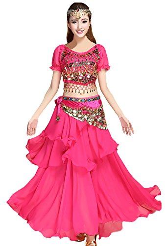 Damen Bauchtanz Kostüm Indischen Tanzkleidung 5 Teilig Set Festliche Spezielle Anlässe Indian Dance Costumes Belly Dance Costumes Darbietungen Kleidung Oberteil/Rock/Hüfttuch/Headwear/Halskette