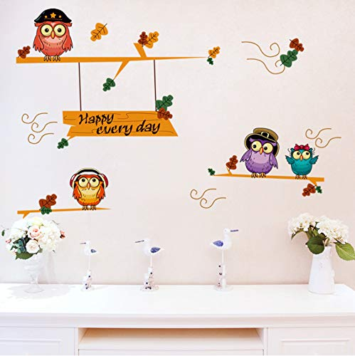 JXSTORE Wandaufkleber für Schlafzimmer Wohnzimmer Mädchen Junge Küche - Eulen Am Baum Happy Every Day
