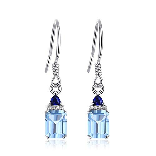 JewelryPalace 2.3ct Smeraldo-Taglio Azzurro Topazio, Sintetico Zaffiro Goccia Orecchini 925 Sterling Argento