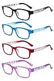 VEVISTARS Lesebrille Damen Herren Lesehilfen Augenoptik Vintage Retro Qualität Rechteckig Vollrandbrille Arbeitsplatzbrille mit Stärke 1.0 1.5 2.0 2.5 3.0 3.5 4.0 (4 Farben Set, 2.0)