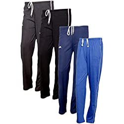 IndiWeaves Women's Premium Cotton Lower with 1 Zipper Pocket and 1 Open Pocket(Pack of 4)_Brown::Blue::Blue::Blue-38