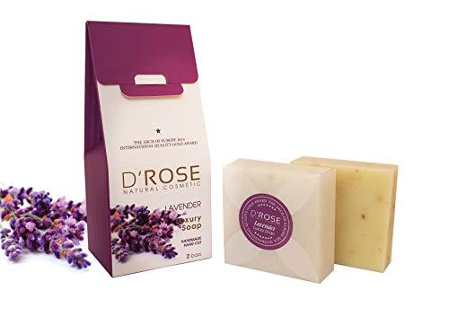 D'Rose Naturkosmetik Handgeschnitten Lavendel Luxus Seife (Frische, Haarpflege, Antibakteriell) 2x100gr - Zimt Antibakteriell
