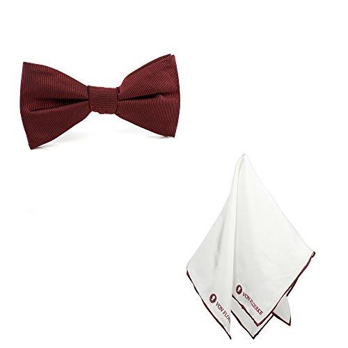 VON FLOERKE Vorgebundene Fliege mit Einstecktuch 100% Seide im Set – rot, bordeauxrot weiß – Für Hochzeit & Freizeit – Kragenweite: 37-52cm – Schleifen und Einstecktuch für - Männer Weiße Die Dinner-jacket