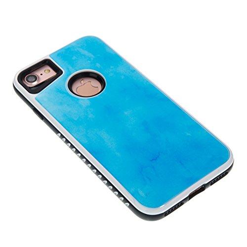 iPhone 7 Coque, Voguecase 2 in 1 TPU + PC avec Absorption de Choc, Etui Silicone Souple, Légère / Ajustement Parfait Coque Shell Housse Cover pour Apple iPhone 7 4.7 (marbre-noir)+ Gratuit stylet l'éc marbre-bleu ciel