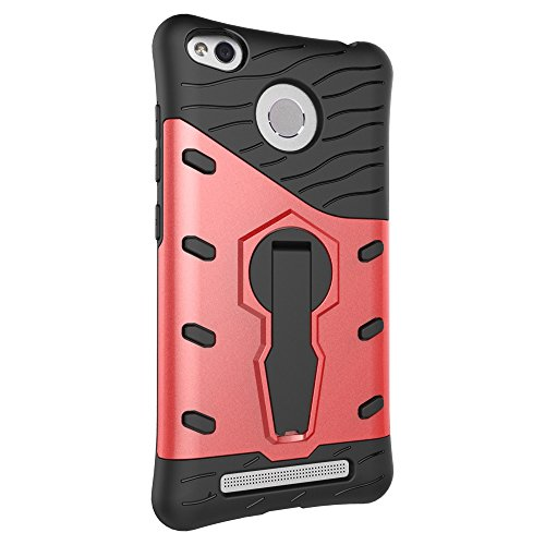 Für Xiaomi 3 & 3S & 3S Pro & 3A & 3X Fall Neue Rüstung Tough Style Hybrid Dual Layer Rüstung Defender Soft TPU / PC Rückseitige Abdeckung Fall mit 360 ° Stand [Shockproof Case] ( Color : Black ) Red