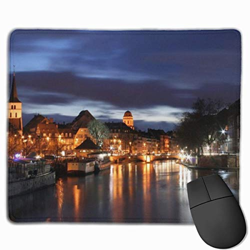 Mouse Mat Strasbourg France at Night Non-Slip Rubber Mouse Pad for Desktops, Computer, PC and Laptops 9.8 X 11.8 inch (25x30cm) -