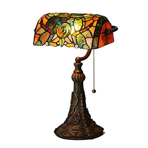 Bieye L30308 17 pulgada Libélula Banquero Lámpara de mesa del vitral del estilo de Tiffany