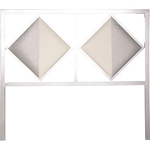 HOGARES CON ESTILO - Cabecero de forja nacional y polipiel Bidasoa, color Plata para cama de 90 cms, (Varios colores y medidas