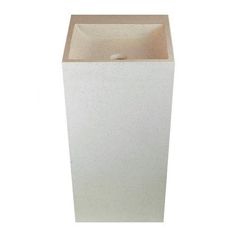 Vasque colonne totem carrée blanche sonia