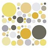 Wandtattoo Kinderzimmer Wandsticker Set Pastell Kreise in sommerlichen Gelb und